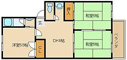 兵庫県加古川市別府町石町の賃貸アパートの間取り