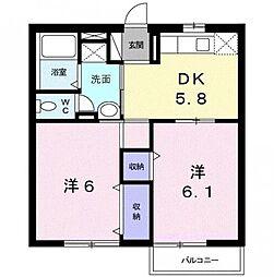 静岡県浜松市中区葵西5の賃貸アパートの間取り