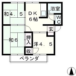 滋賀県大津市和邇南浜の賃貸アパートの間取り