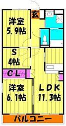 埼玉県越谷市千間台東3丁目の賃貸マンションの間取り