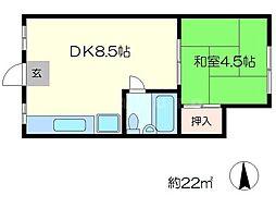 マンション松原[2階]の間取り