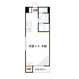 JR中央本線 三鷹駅 徒歩5分の賃貸アパート 2階ワンルームの間取り