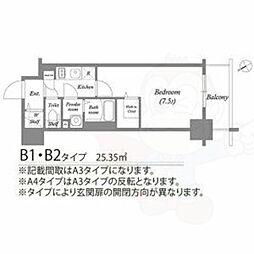 名古屋市営東山線 新栄町駅 徒歩7分の賃貸マンション 3階1Kの間取り