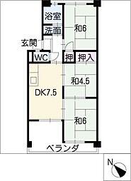 六軒屋農住コーポ松栄[2階]の間取り