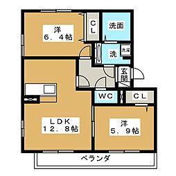 Casa terre B棟[3階]の間取り