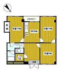 神奈川県横浜市南区永田北2丁目の賃貸マンションの間取り