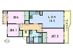 奈良三条町住宅 3号棟[403号室]の間取り