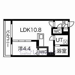 札幌市営東西線 白石駅 徒歩8分の賃貸マンション 3階1LDKの間取り