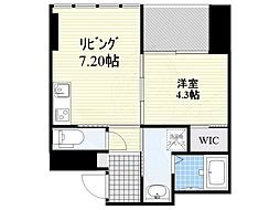 西鉄天神大牟田線 薬院駅 徒歩8分の賃貸マンション 8階1LDKの間取り
