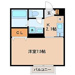 仙台市営南北線 北四番丁駅 徒歩15分の賃貸アパート 1階1Kの間取り