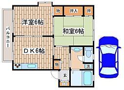 兵庫県神戸市須磨区多井畑東町の賃貸アパートの間取り