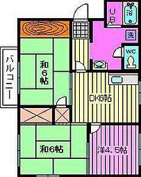 コーナーハウスB棟[2階]の間取り