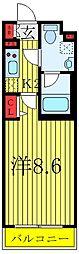 東京メトロ南北線 志茂駅 徒歩8分の賃貸マンション 3階1Kの間取り