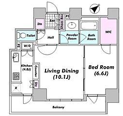 パークタワー芝浦ベイワード アーバンウイング 13階1LDKの間取り