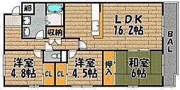 兵庫県川西市多田院2丁目の賃貸マンションの間取り