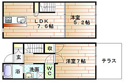 福岡県宗像市東郷6丁目の賃貸アパートの間取り