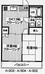 東京都あきる野市二宮東2丁目の賃貸マンションの間取り