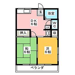 静岡県静岡市葵区大岩本町の賃貸アパートの間取り