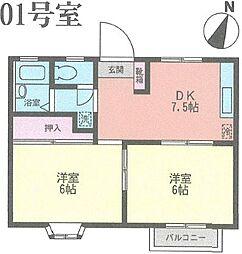 神奈川県横浜市中区滝之上の賃貸アパートの間取り