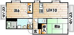 福岡県遠賀郡遠賀町松の本7丁目の賃貸アパートの間取り