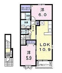 JR福塩線 高木駅 徒歩3分の賃貸アパート 2階2LDKの間取り