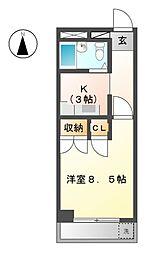 フォーブル三里[4階]の間取り