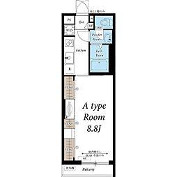 名古屋市営鶴舞線 浄心駅 徒歩5分の賃貸マンション 2階1Kの間取り