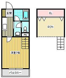 アベニュー中加賀屋[706号室]の間取り