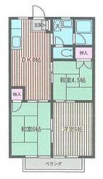 神奈川県座間市東原3丁目の賃貸アパートの間取り