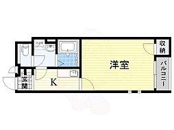 阪急京都本線 高槻市駅 徒歩7分の賃貸アパート 2階1Kの間取り