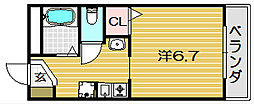 アンソレイエ・シャンブル[106号室]の間取り