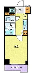ルーブル二子多摩川 4階1Kの間取り
