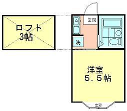 東伏見NO18プラザUSA[202号室]の間取り