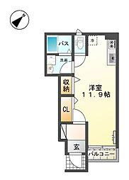 サンクエトワール上野芝 1階1Kの間取り
