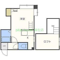 札幌市営南北線 北34条駅 徒歩7分の賃貸アパート 2階ワンルームの間取り