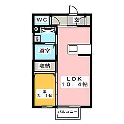 愛知県豊橋市飯村南4丁目の賃貸アパートの間取り