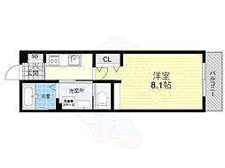 阪神本線 尼崎駅 徒歩4分の賃貸アパート 2階1Kの間取り