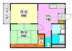 タウンコート平成[102号室]の間取り