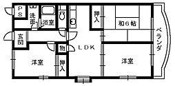 パラディアンフレール[1階]の間取り