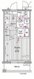 東急東横線 横浜駅 徒歩7分の賃貸マンション 10階1Kの間取り