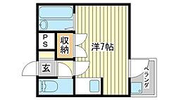 兵庫県姫路市山野井町の賃貸アパートの間取り