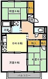 岡山県倉敷市平田の賃貸アパートの間取り