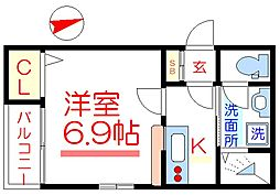東武伊勢崎線 五反野駅 徒歩5分の賃貸アパート 3階1Kの間取り