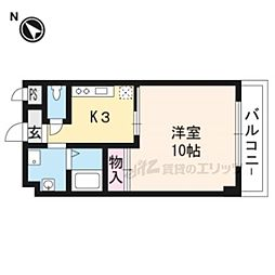 阪急京都本線 桂駅 徒歩24分の賃貸マンション 3階1Kの間取り