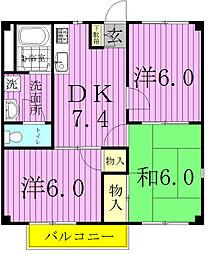 千葉県柏市名戸ケ谷1丁目の賃貸アパートの間取り
