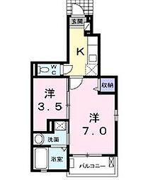 広島県呉市広徳丸町の賃貸アパートの間取り