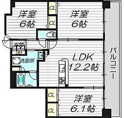 ラウロ相川リーヴァ[7階]の間取り