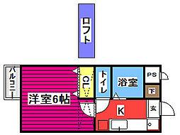 仙台市地下鉄東西線 川内駅 徒歩17分の賃貸アパート 2階ワンルームの間取り