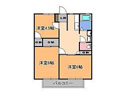 栃木県宇都宮市雀の宮7丁目の賃貸アパートの間取り