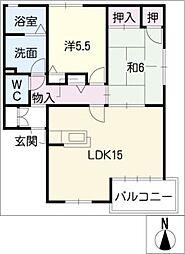パールマンションII号館[1階]の間取り